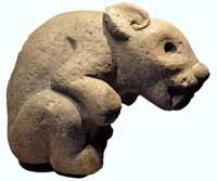 Aztec stone rabbit figure