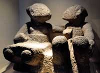 Mexica (Aztec) stone seated couple