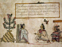 Codex Cozcatzin showing Moctezuma's heirs