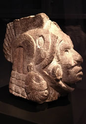 Aztec Stone head of the god Xochipilli