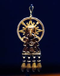 Mixtec-Aztec gold bird pendant