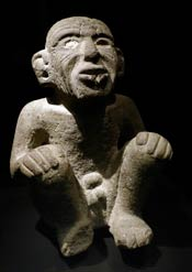 Aztec stone sculpture of Huehueteotl-Xiuhtecuhtli