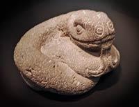 Aztec stone snake sculpture, Hamburg museum