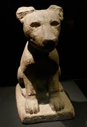 Aztec stone dog sculpture